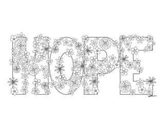 Hope with Flowers Coloring Page by KaleyObsidia