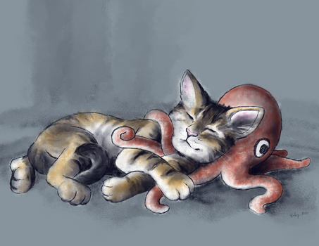 Cat with Octopus Plushie