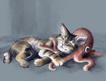 Cat with Octopus Plushie by KaleyObsidia