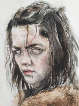 arya stark watercolor portrait