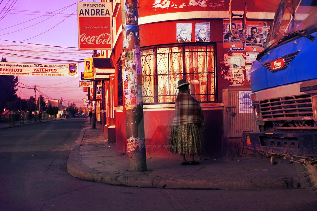 Bolivia Chola La Paz Woman Corner 2010 by maliciousevl