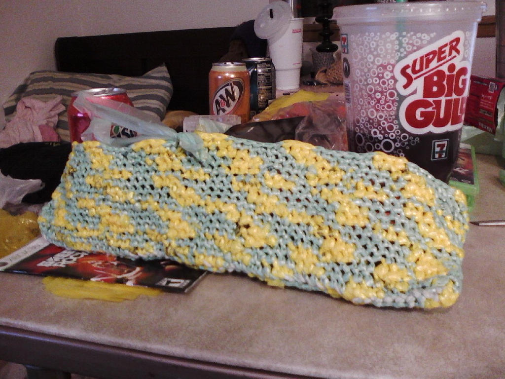 Yellow/Green Plarn Bag 003 by Eagle07