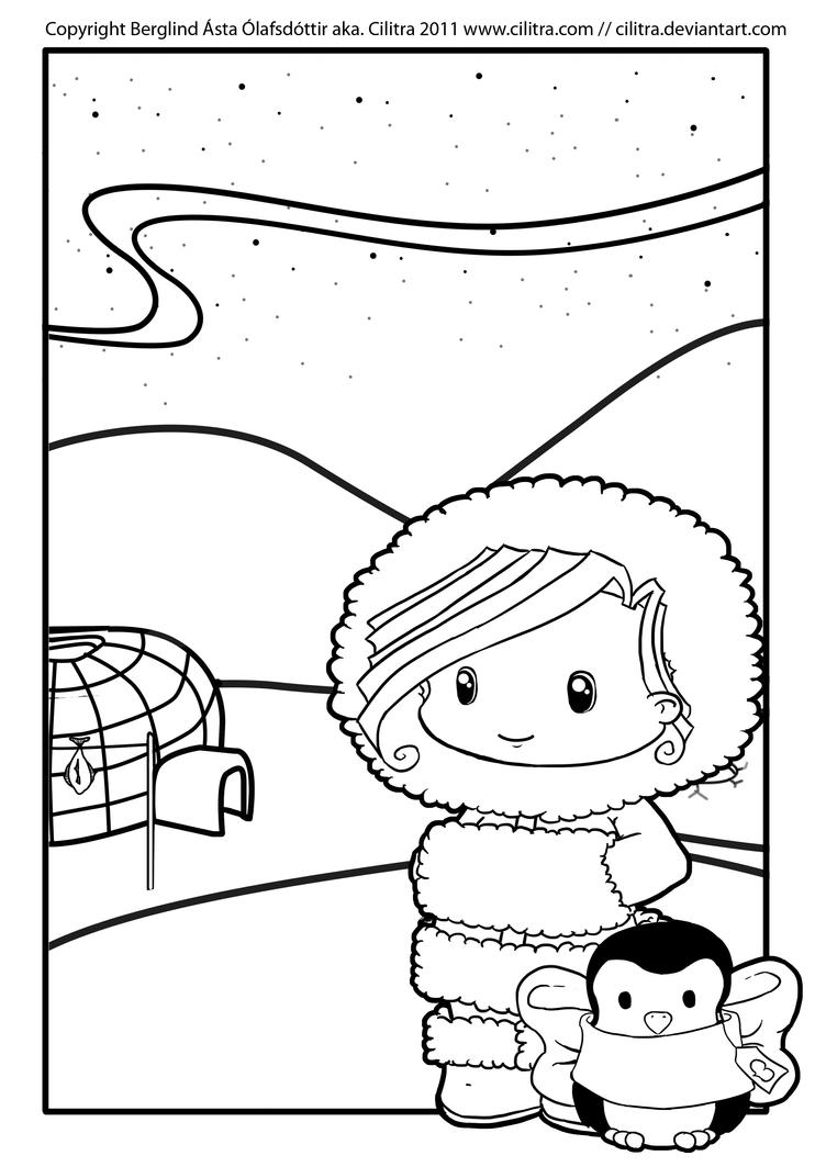 Eskimo colouring pages for Eskimo coloring page