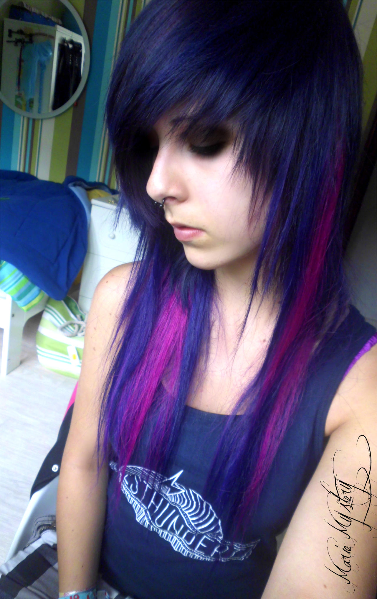 purple pink scene hair by mariemystery on deviantart
