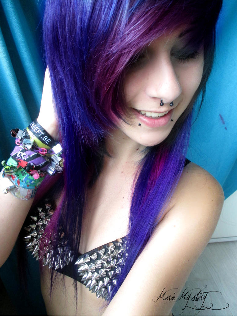 Blonde And Purple Scene Hair 111
