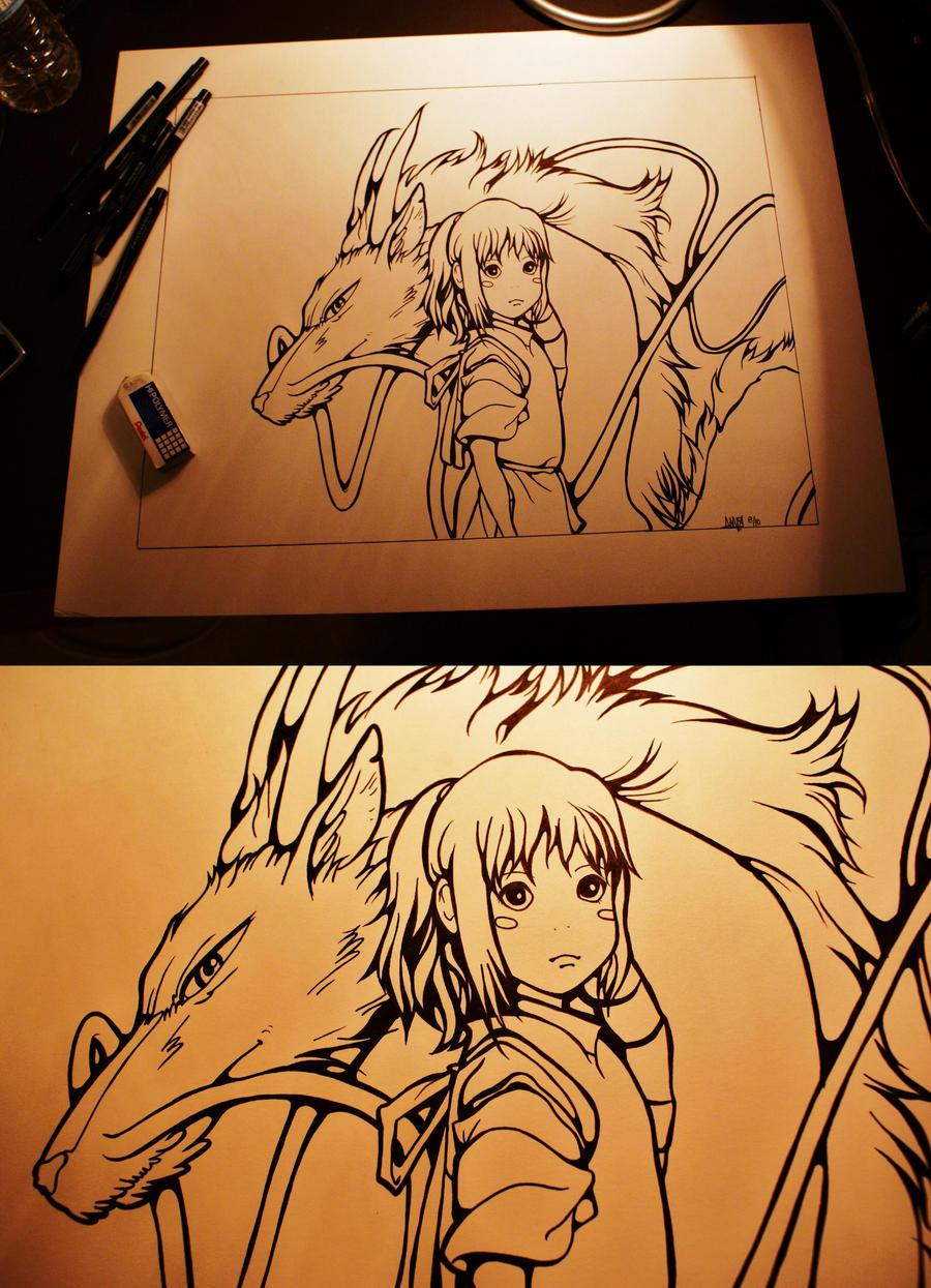 Chihiro and Haku by amandurinorange