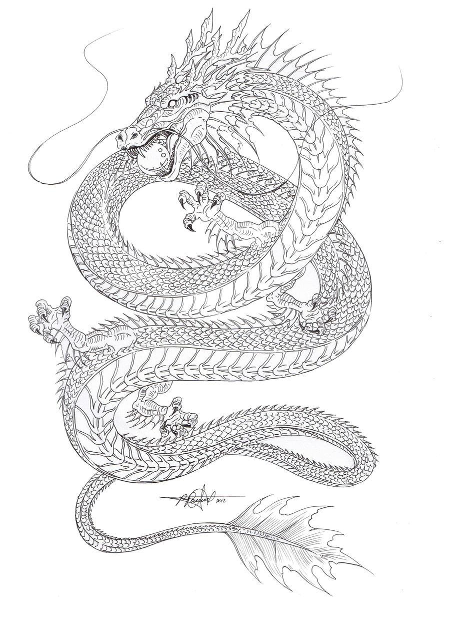 Water Dragon Outline By Artstain On DeviantArt