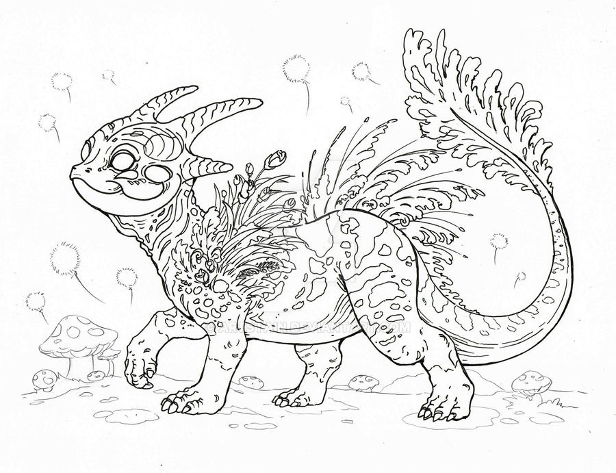 Baby Forest Dragon - sketch by artstain