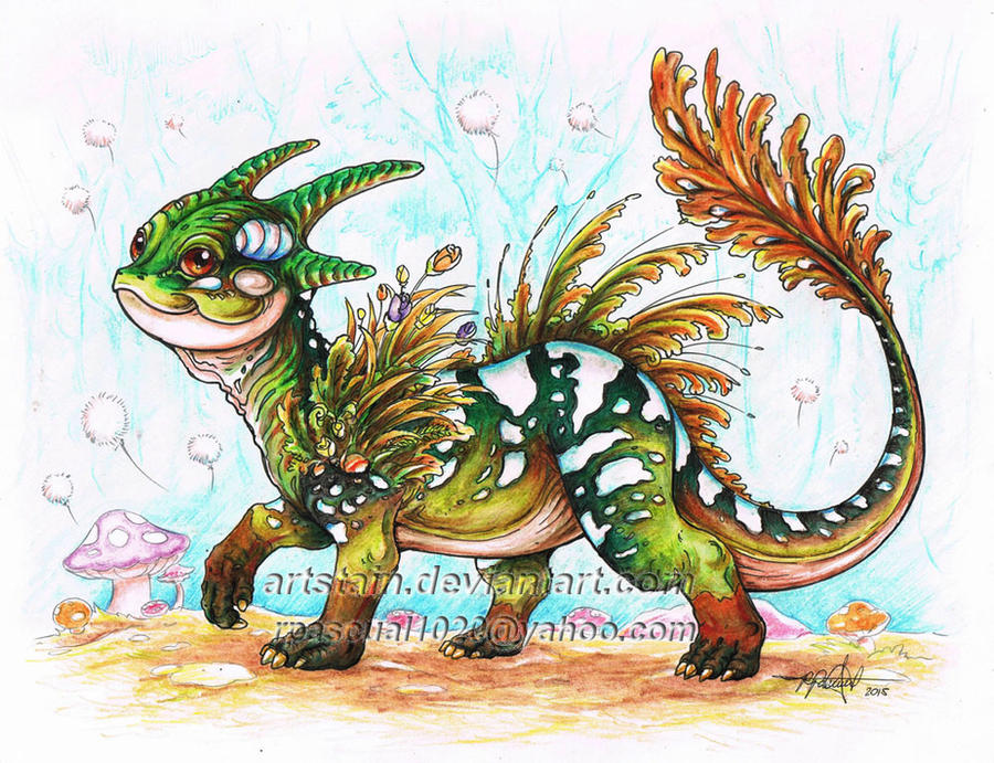 Baby Forest Dragon by artstain