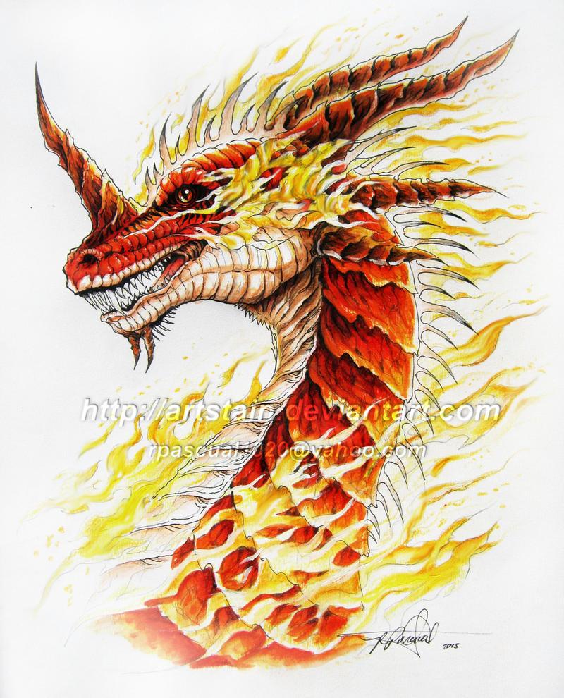 Fire Dragon Head - SALAMANDER by artstain