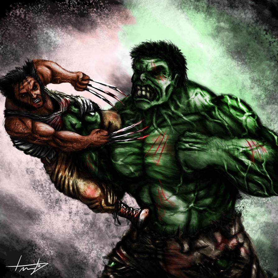 Wolverine vs Hulk by LouizBrito