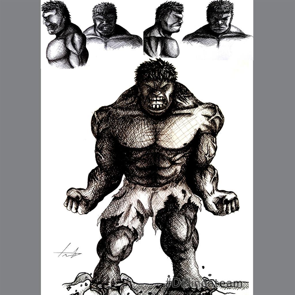 Nanquim Sketch Hulk by LouizBrito