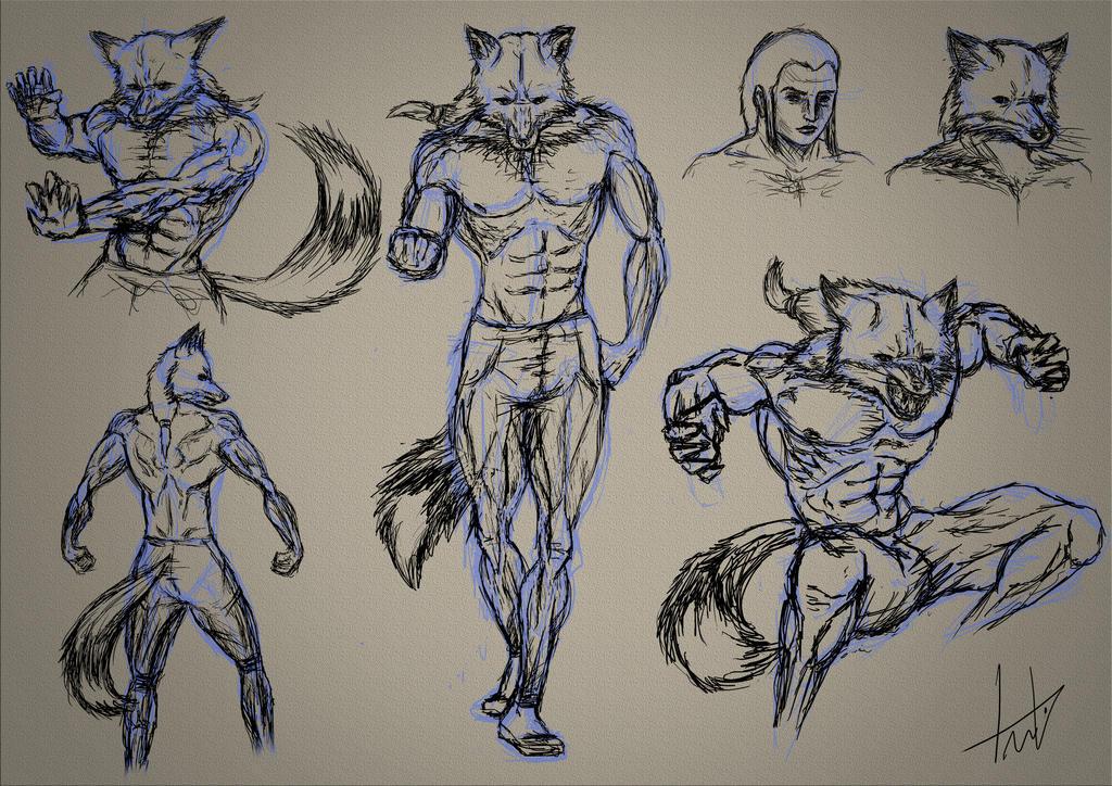 Sketch Hybrid Fox by LouizBrito