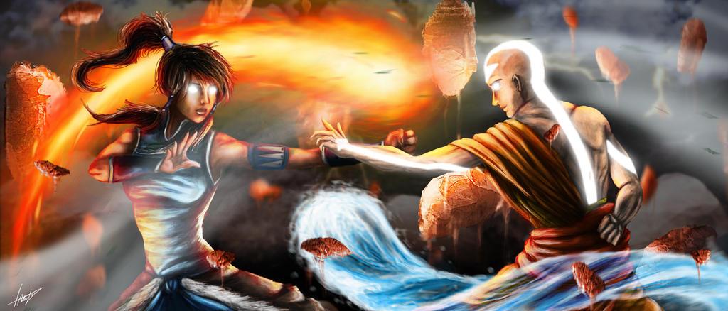 Korra vs Aang by LouizBrito