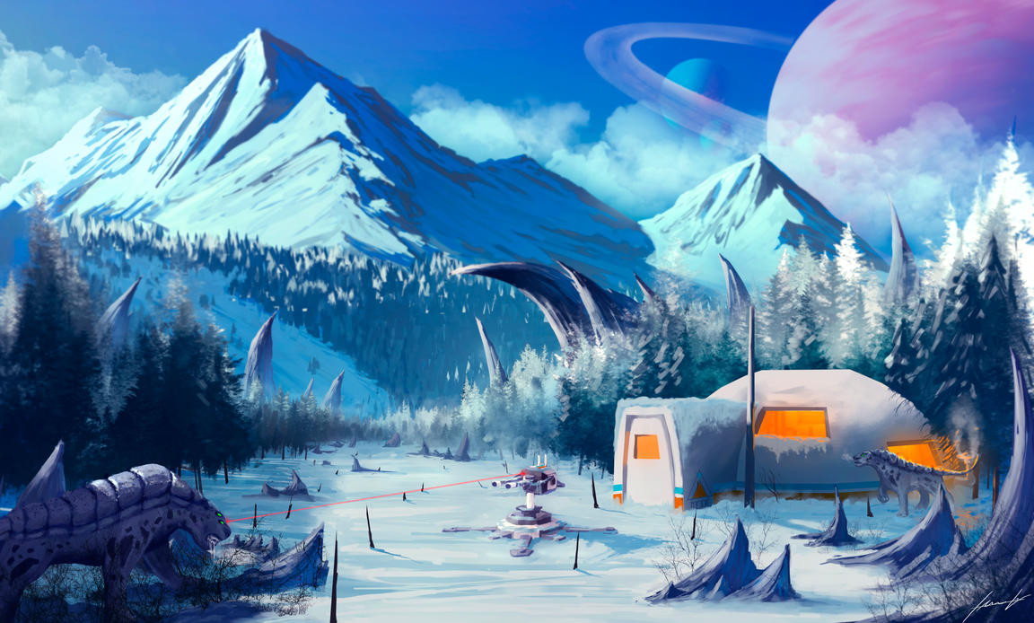 Snowy Alien Planet by LouizBrito