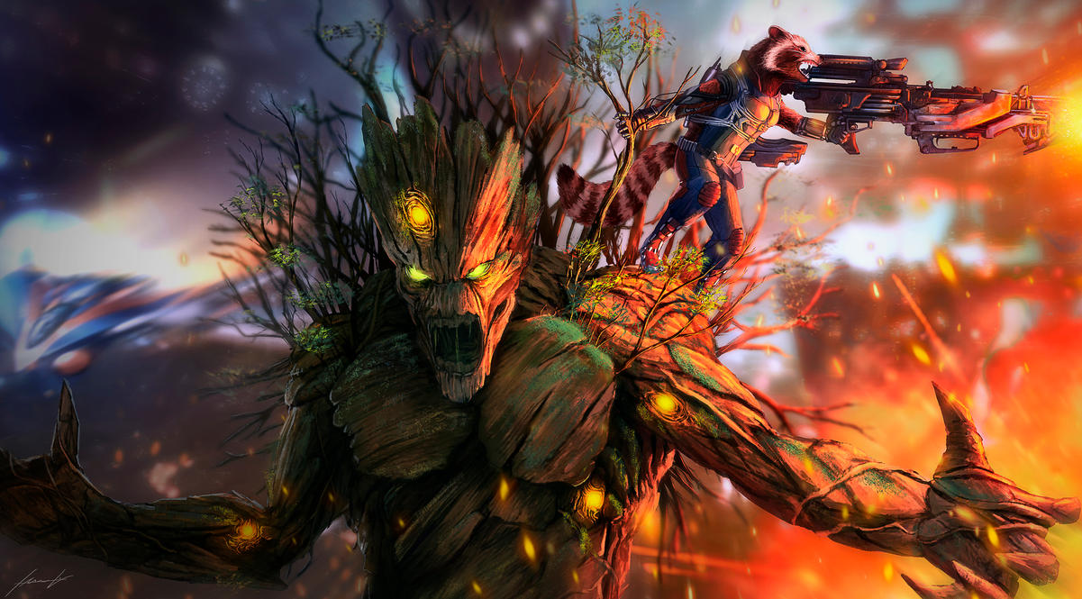 Badass Rocket and Groot by LouizBrito