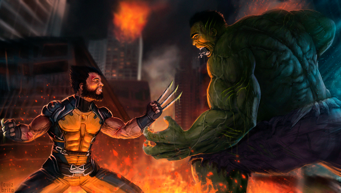 My Badass Wolverine Vs Hulk by LouizBrito