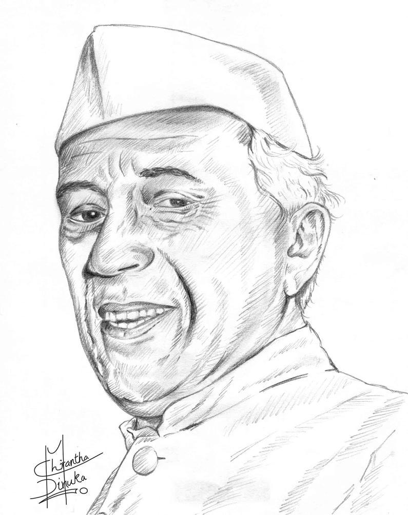 Pandit Jawaharlal Nehru Drawing Nehru