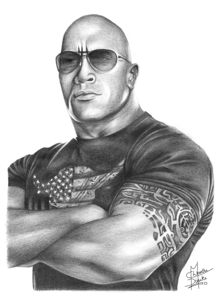 Uncategorized Wwe Drawing Pictures the rock pencil drawing by chirantha on deviantart chirantha