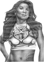 Mickie James Pencil Drawing by Chirantha