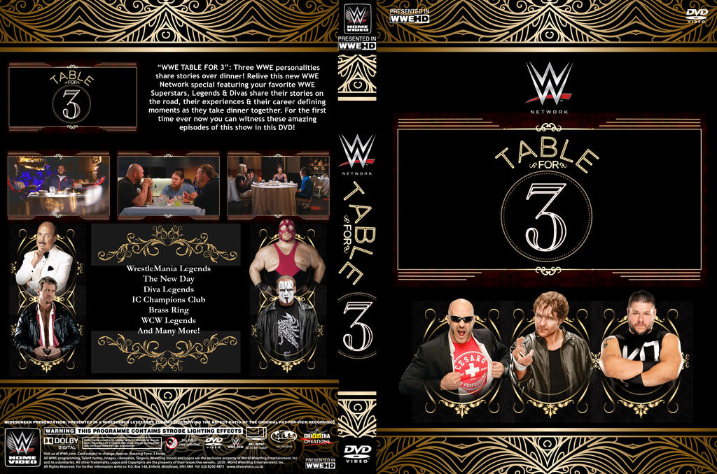 wwe table for 3 dvd cover by chirantha on deviantart. Black Bedroom Furniture Sets. Home Design Ideas