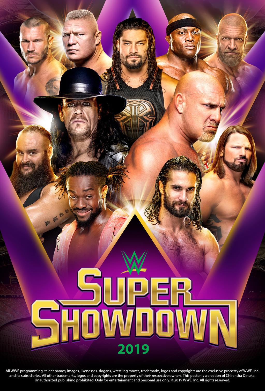 Cartel de WWE Super ShowDown 2019 por Chirantha