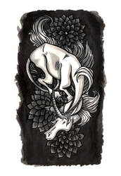 Horse Flower tattoo Design by killskerry