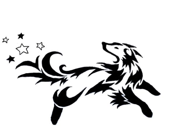 Line Art Dog Tattoo : Tribal dog by panicface on deviantart