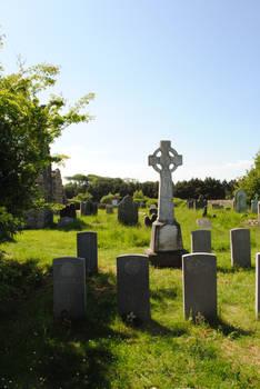 Celtic cross and Gravestones