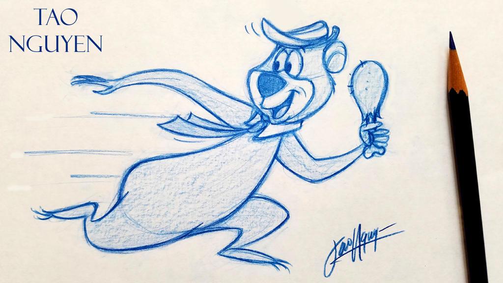 Tao Nguyen's Yogi Bear Sketch Drawing by TaoNguyenArts