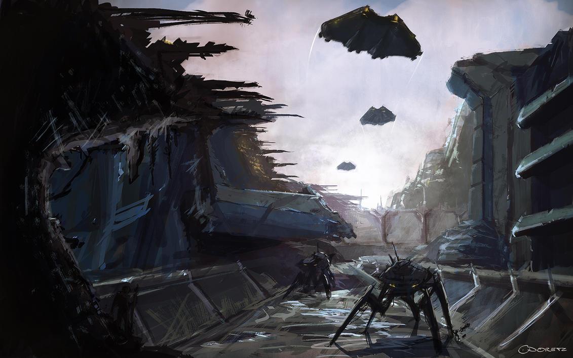 destroyed sci fi landscape by cdodez on deviantart