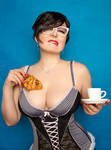hot sexy plus size woman playing with food