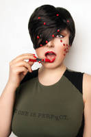 girl with bugs and lipstick by modelvaahtokaramelli