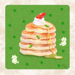 Frogy loves his breakfast- Pancakes