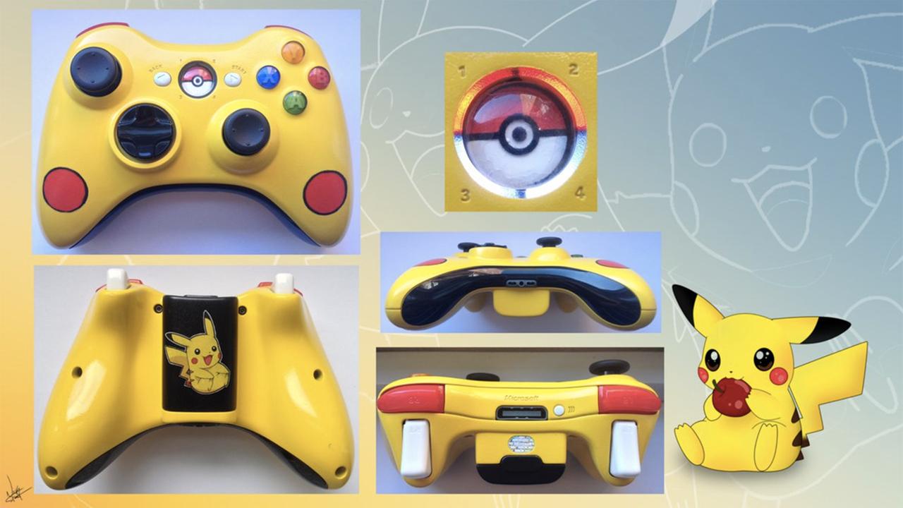 Pokemon Games For Xbox 1 : Pikachu custom xbox controller version by cardi