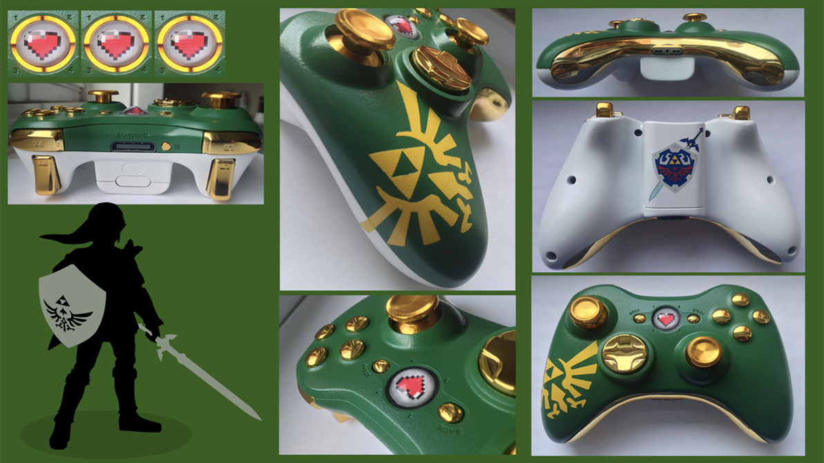 The Legend of Zelda Custom Xbox 360 Controller by CARDI-ology