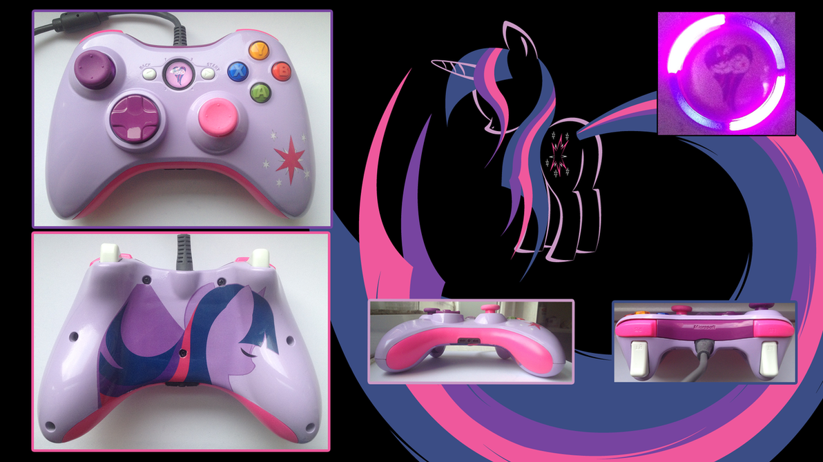 Custom Wired X360 Controller Twilight Sparkle by CARDI-ology