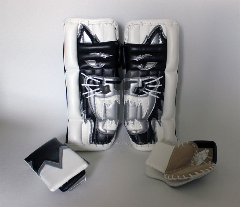 Mini ice hockey goalie pads and mini goalie gloves by beccaraptor