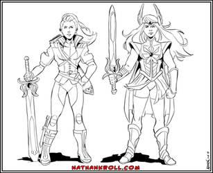 Adora and She-Ra by NathanKroll