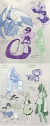 character sketches (not my OCs) by pengosolvent