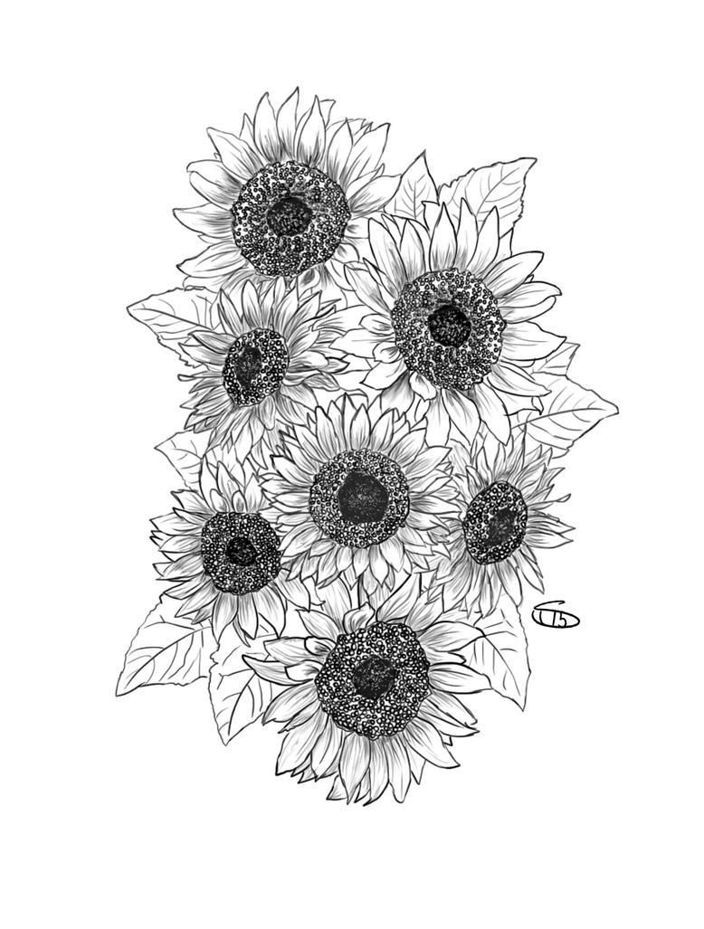 Sunflower Tattoo by Sharksidedown