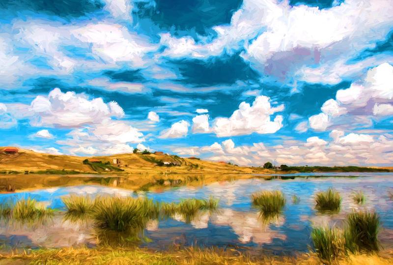 Lake And Clouds by Karolina-Borkowski