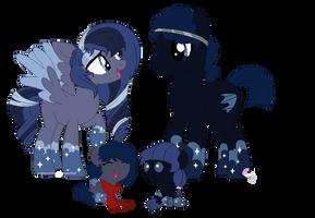 Night Cloud family by SugarMoonPonyArtist