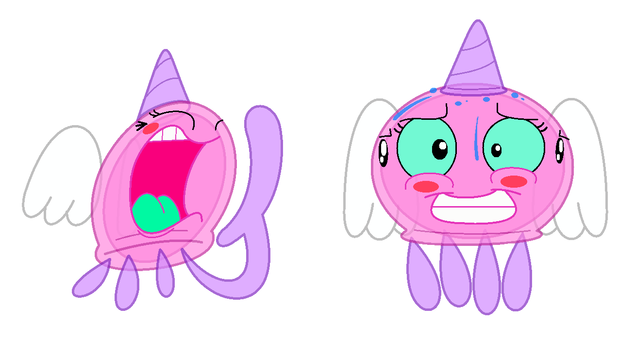 Pink Jellyfish yelling and nervous by smawzyuw2