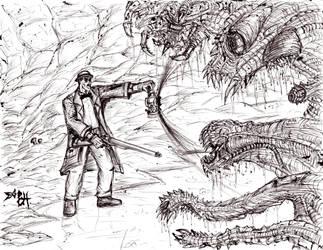 H.P. Lovecraft Hunting (Original) by KronnangDunn