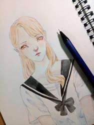 Watercolor Japanese uniform by lamie04