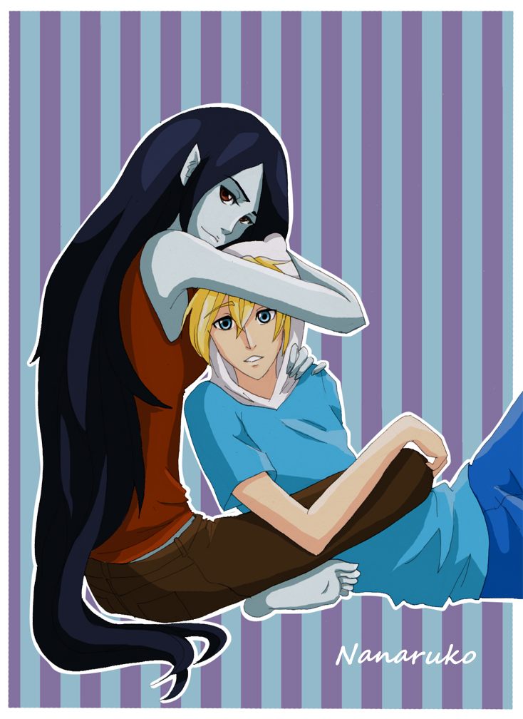 Marceline and Finn- Adventure Time by Nanaruko