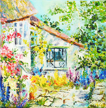 Cozy cottage II Oil painting by BeeTatyana