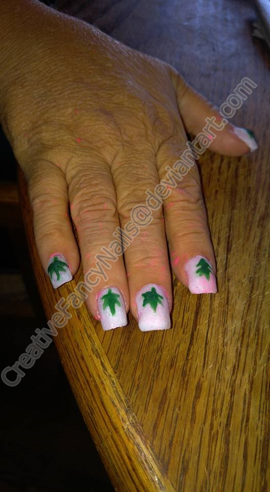 Marijuana Leaf Nail art by creativefancynails on DeviantArt