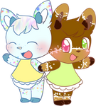 Sugar and Ginger the Deer Twins -By Mythicatalli-